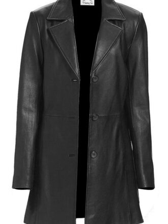 VearFit Long Trunq New Arrival Black Faux Leather Coat Blazar For Womne - Tailor Made