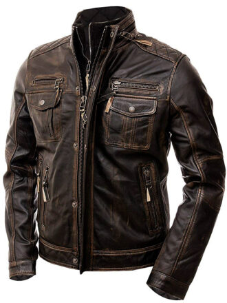 Vearfit Rub Off Vintage Distressed look Zipper Brown Real Leather jacket for Men