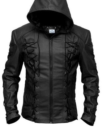 VearFit Stephen Amell Green Arrow Roy Harper Mens Faux Leather Jacket SuperHero