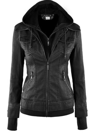 VearFit Women's Sparteens Leather Jacket Bomber Removable Hood for Women