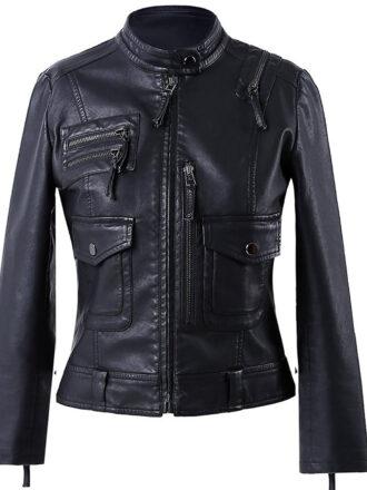 VearFit Womens Strips Fashionable Black Biker Motorcycle Designer Leather Jacket