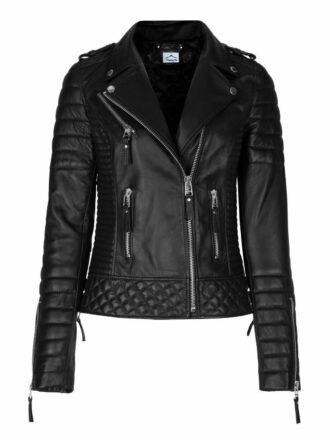 VearFit Women Fence Biker Motocrycle Designer Genuine Black Leather Jacket