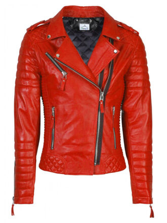 VearFit Womens Biker Motorcycle Zipper Red, Tan, Black, Red Real Leather Jacket