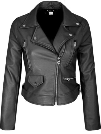 VearFit Womens Centiment Biker Motorcycle Red, Pink, Tan, Black Leather Jacket