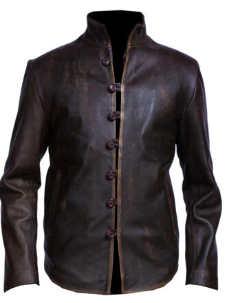 VearFit Vintage Rub Off Distressed Brown Shirt Look Stylish Designer Brown Real Leather Jacket For Men