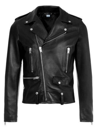 VearFit Men's Starduck Biker Motorcycle Black Real Genuine Leather Biker Jacket