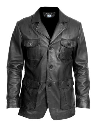VearFit Men's 4-holes Buttons Real Leather Coat Blazar Plus Size