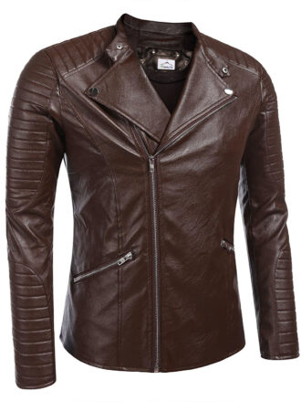 VearFit Men's Nicalos Plate Brown Real Sheep Leather Jacket Slim Fit Winter