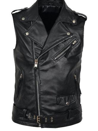 VearFit Men's Williams core VestCoat True to Size Genuine Leather Black