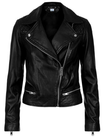 VearFit Wearable Women Black Missy Regular Plus Size Real Sheep Leather Jacket