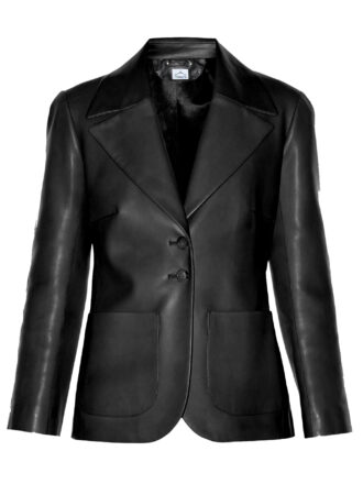 VearFit Simple Coat Black Faux Leather Blazer Smooth Fashion designer Collection For Women