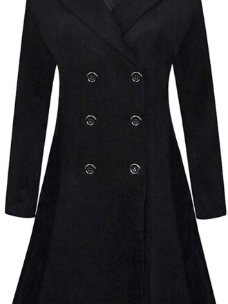 VearFit Women's Wool Trench Coat Blend Pea Woolen Double Breast Full length Red, Black Gray Blazer