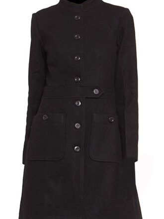 VearFit Women's Party wear  Wool Trench Coat Blend Pea Woolen Full length Gray Blazer
