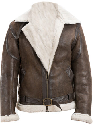 Vearfit White Shearling flying aviator Vintage Classical Real Leather Blazar for Men