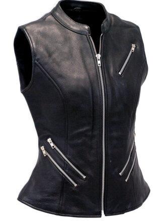 VearFit Women Zaverious Zipper VestCoat Genuine Leather Vest