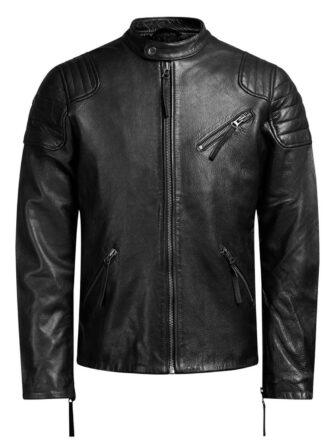 VearFit Spontanious Black Biker Motorcycle Faux Leather Jacket for Men
