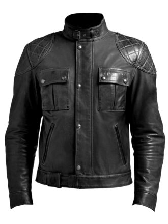 VearFit Smooth Fashion Black Genuine Lambskin Quailted  Leather Jacket for Men