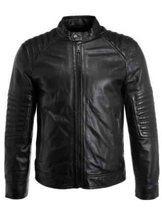 VearFit Slim Biker Motocycle Black Faux PU Quilted Design Leather Jacket for Men