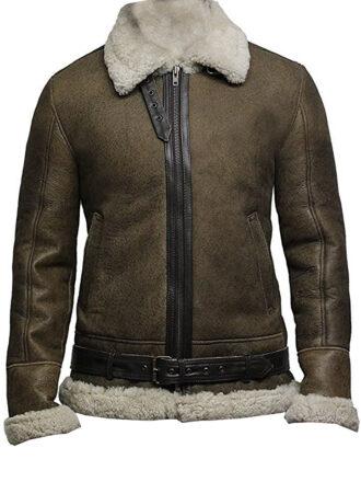 VearFit Vintage Shearling flying aviator Jet Brown Designer Real Leather Jacket For men