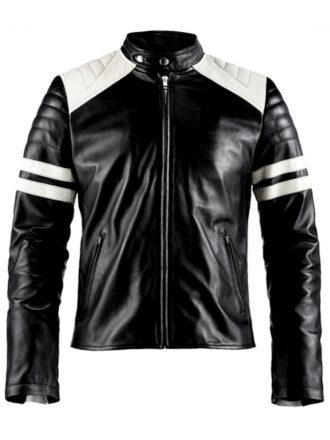 VearFit Mayhem Replica Movie Contras Black Biker Motorcycle Pu Faux Leather Jacket for Men Halloween Costume