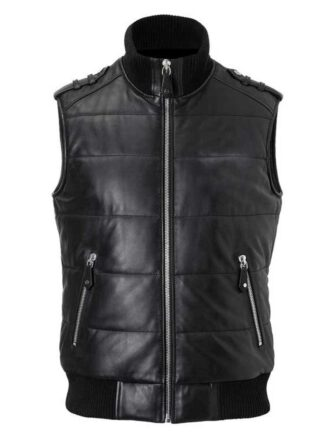 VearFit Men's Qualted Vest Coat Dawn Style Real Leather Black