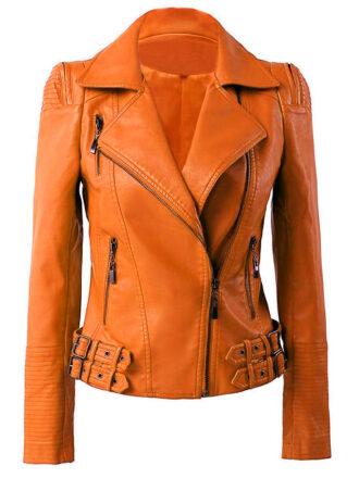 VearFit Womens Biker Missy Regular Black, Red, Tan Real Lambskin Leather Jacket