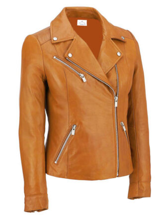 VearFit Womens Sliver Stylion Red, Gray, Black, Tan Lambskin Real Leather Jacket